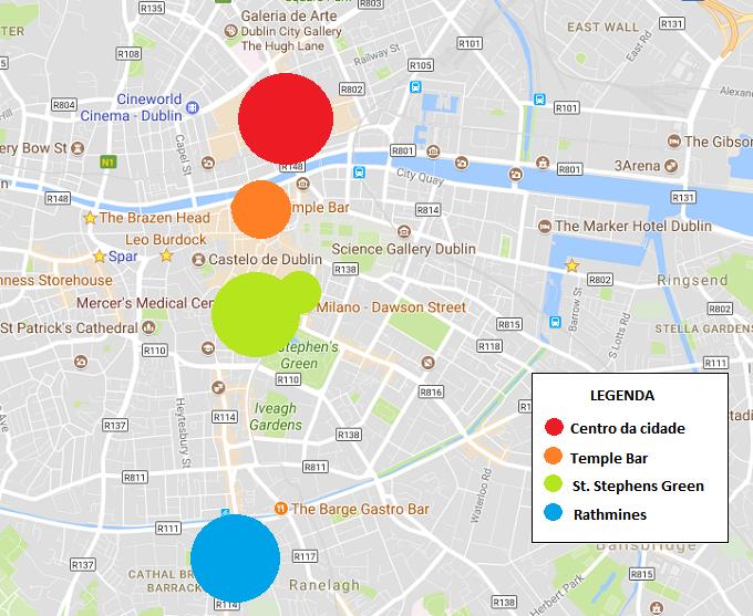 Mapa dos melhores bairros de Dublin