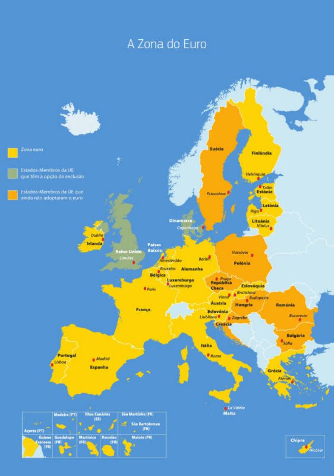Mapa dos países que pertencem à Zona do Euro.