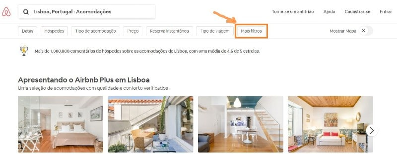Captura de tela da página do Airbnb