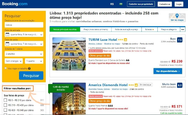 Captura de tela da página do Booking
