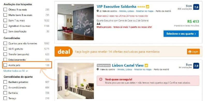 Captura de tela da página inicial do Booking.com