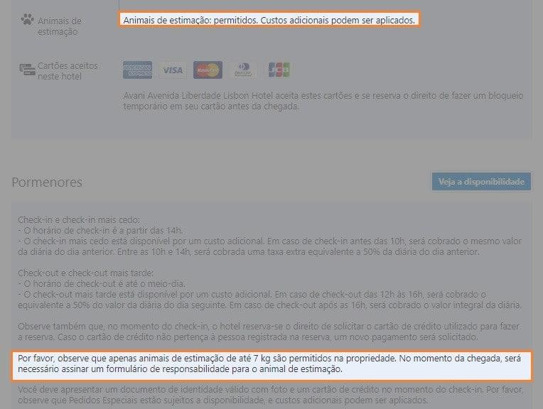 Captura de tela que mostra restrições à hospedagem de animais