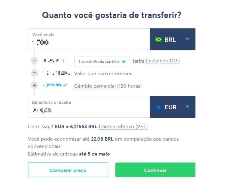 Captura de tela mostra como usar o Transferwise para transferir dinheiro para a Europa