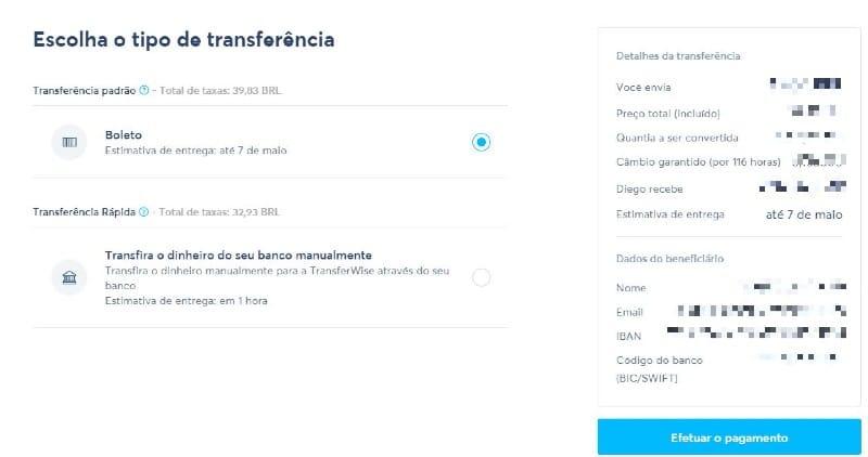 Como usar o Transferwise: tela de escolha do tipo de transferência (Boleto/TED)