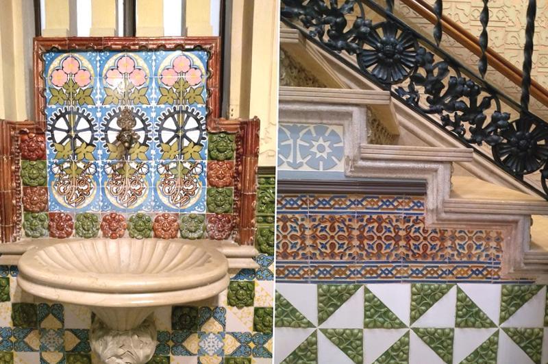 Detalhe da decoração da casa Coll i Regàs em Mataró, Espanha