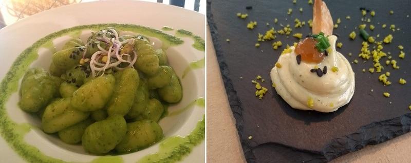 Comida vegana em Girona: Nhoquis ao pesto e entradinha de pastinha de tofu