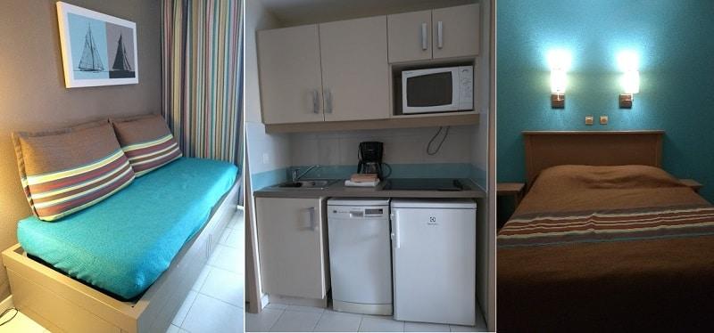Colagem de três fotos: a primeira mostra um sofá-cama, a segunda mostra uma pequena cozinha, na terceira é possível ver uma cama de casal com duas luzes ligadas sobre ela