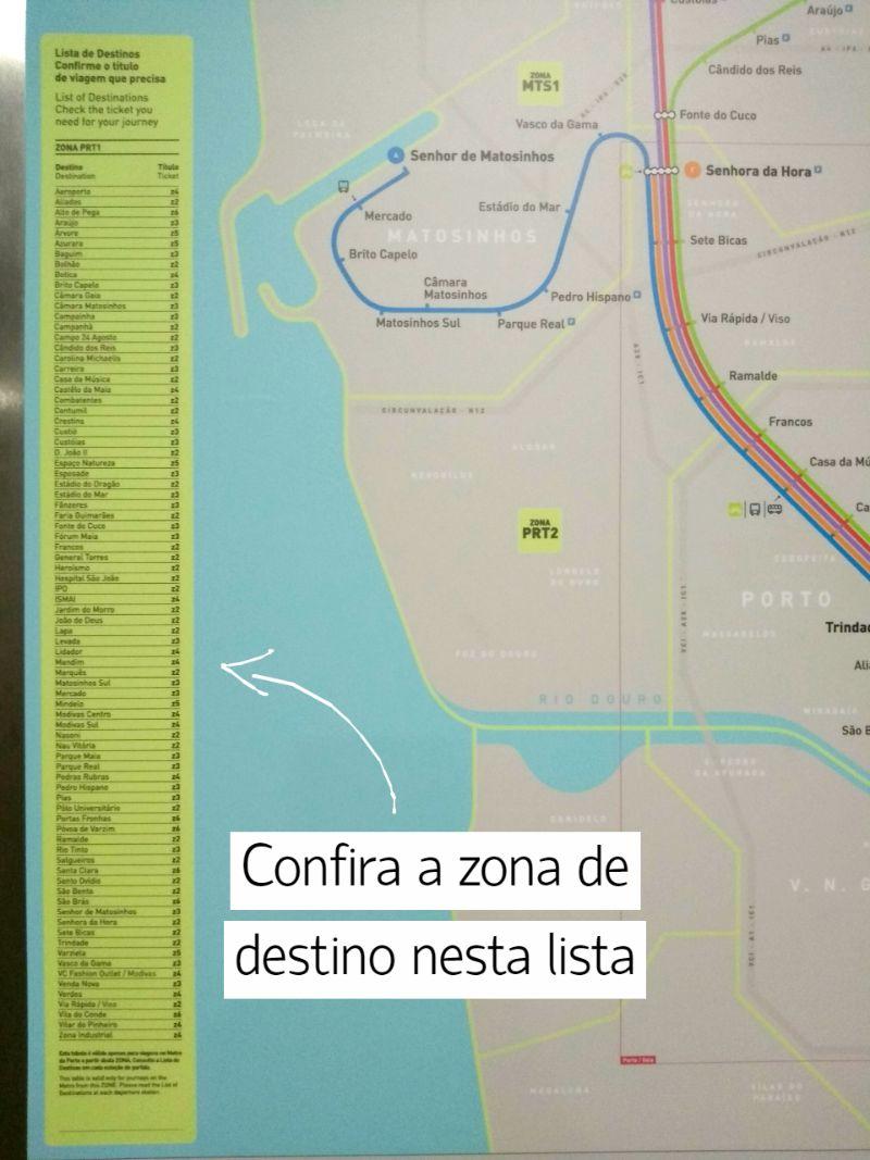 Lista das estações do metrô no Porto por zonas