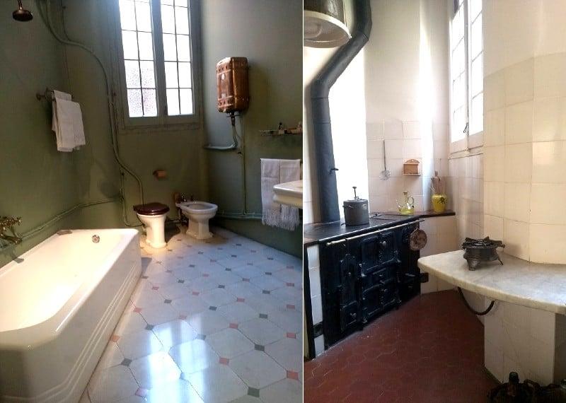 Imagem dos cômodos da Casa Milà lado a lado. À esquerda, um banheiro de paredes verdes, com banheira, bidê e privada. À direita, uma cozinha com bancada de granito branco e fogão à lenha.