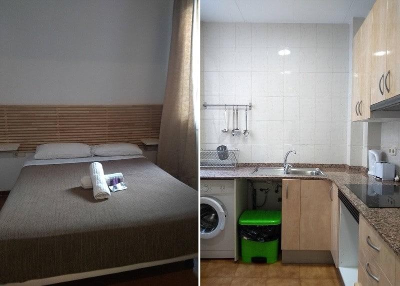 Quarto e cozinha do nosso quarto no hostal Balkonis, em Barcelona