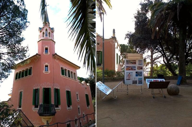 Fachada da Casa Museu Gaudí e gravuras sendo vendidas no Parque Güell, em Barcelona