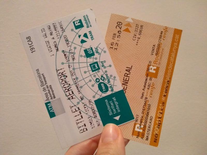 Bilhetes de metrô e trem para o Aeroporto de Barcelona