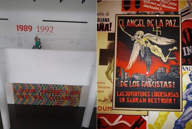 """Duas fotos lado a lado. Na primeira, vê-se um panorama do museu. Na segunda, um cartaz com uma figura alada que voa e possui uma suástica na mão bombardeando uma cidade. No cartaz está escrito """"El ángel de la paz de los fascistas! Las juventudes libertárias lo sabrán destruir""""."""