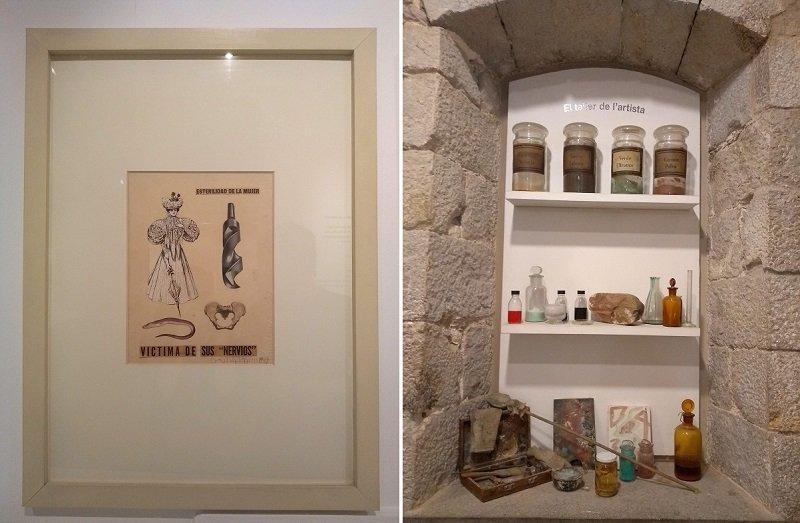 """Duas obras lado a lado encontradas em um dos museus em Girona: a primeira mostra uma colagem de imagens com uma mulher e um dilmo com os dizeres """"vítima de seus nervos"""", enquanto a segunda mostra um ateliê de tintas"""